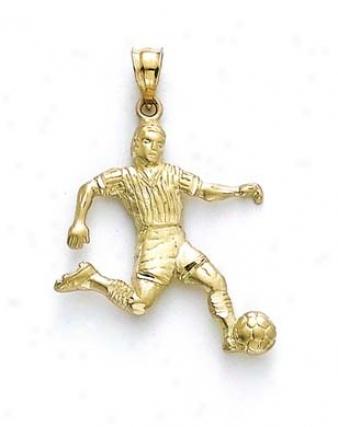 14k Soccer Player Pendant