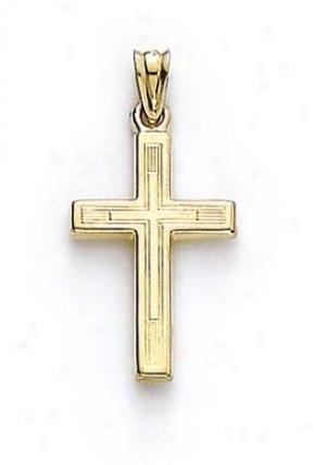 14k Solid Embossed Cross Pendant
