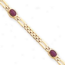 14k Solid Polished Ruby Cabochon Fancy Bracelet - 7.5 Inch