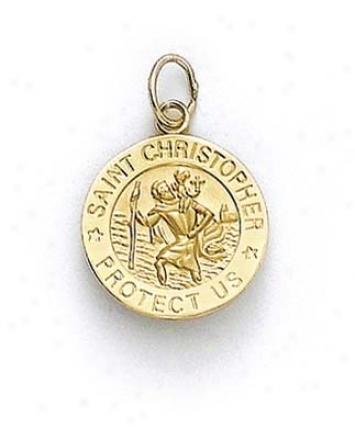 14k St Christopher Medallion Pendant