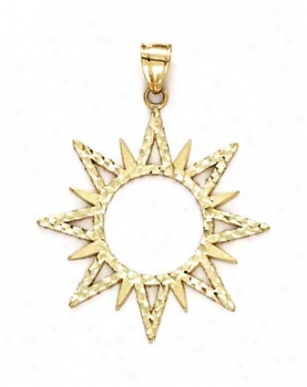 14k Sun X Diamond-cut Pendant