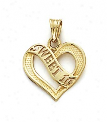 14k Sweet 16 Heart Pendant