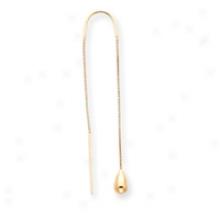 14k Teardrop With U Threader Earrings