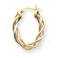 14k Tri-color Classic 4mm Twisted Oval Hoop Earrings