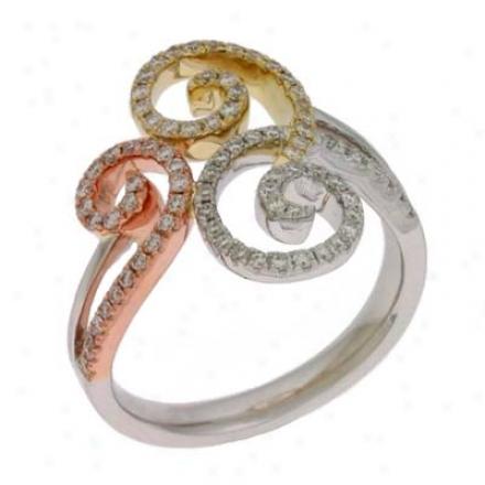 14k Tri-color Trendy Pave 0.44 Ct Diamond Ring