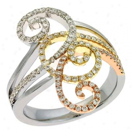 14k Tri-color Trendy Page 0.59 Ct Diamond Ring