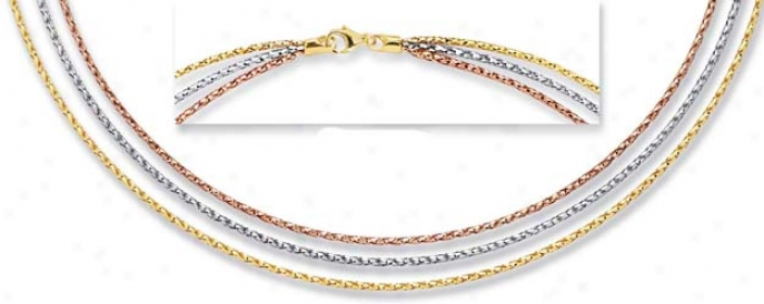 14k Tricolor 3 Strand Necklace - 18 Inch
