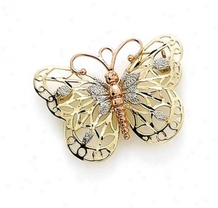 14k Tricolor Butterfly Pin