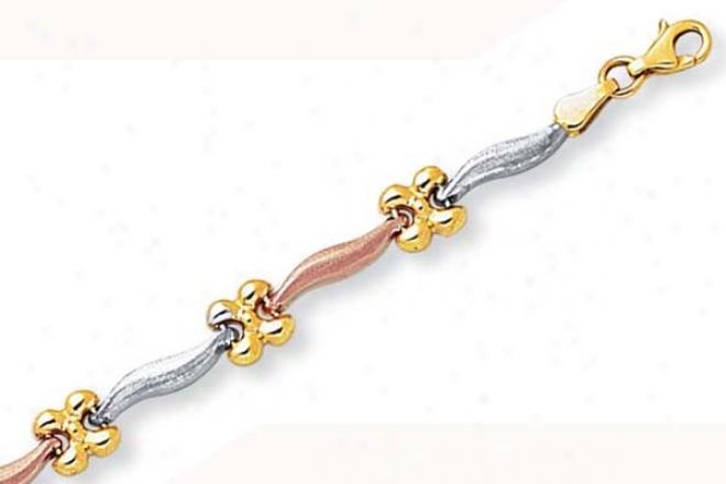 14k Tricolor Curved Flower Ring Bracelet - 7.25 Inch