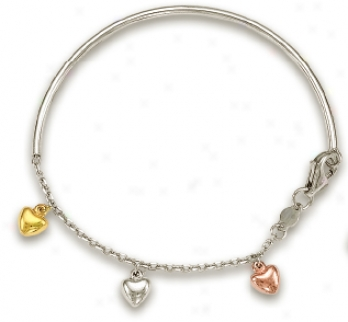 14k Tricolor Dangling Heart Childrens Enamel Bracelet - 5.5