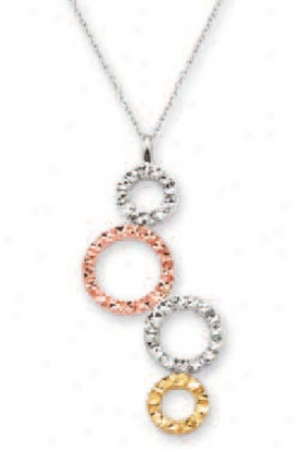 14k Tricolor Diamond-cut Bubbles Necklace - 17 Inch