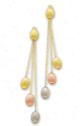 14k Tricolor Fancy Pebbles Earrings