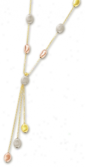 14k Tricllor Fancy Pebbles Necklace - 17 Inch