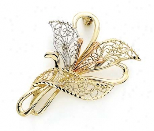 14k Tricolor Filigree Lily Pin