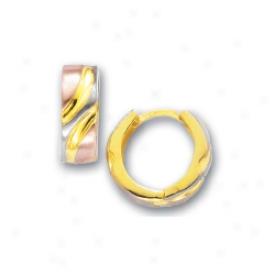 144k TricolorH inged Earrings