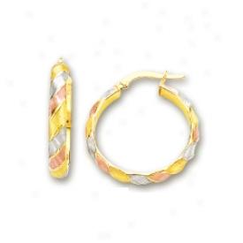 14k Tricolor Hoop Earrings
