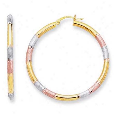 14k Tricolor Medium Fancy Design Hoop Earrings