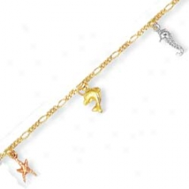 14k Tricolor Sea Animal Childrens Charm Bracelet - 5.5 Inch