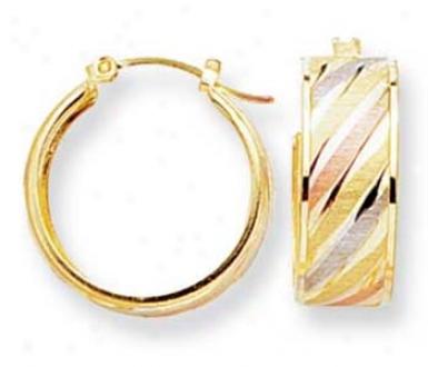 14k Tricolor Small Wave Design Hoop Earrings