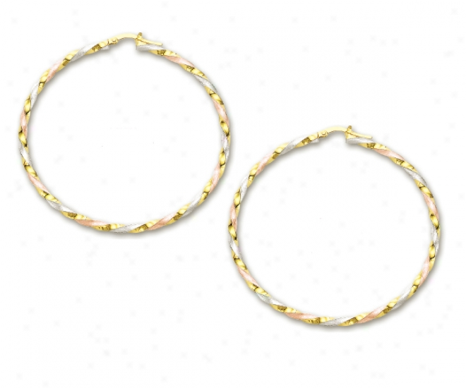 14k Tricolor Spectacular Large Hoop Earrings