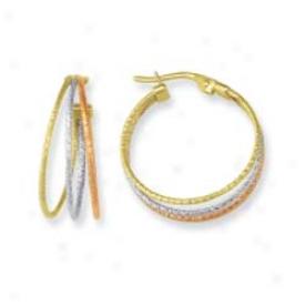 14k Tricolor Three Hoops Earrings