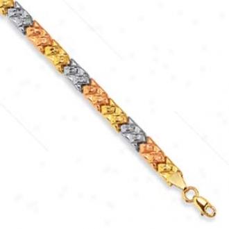 14k Tricolor Tricolor Stampato Bracelet - 7.25 Inchh