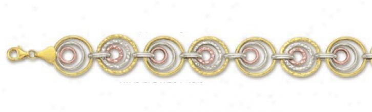 14k Tricolor Triple Circular Link Bracelet - 7.25 Inch