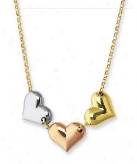 14k Tricolor Triple Heart Necklace - 17 Inch