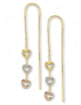 14k Tricolor Triple Heart Shaped Threader Earrigns