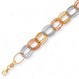 14k Tricolor Triple Link Lobs5er Claw Bracelet - 7.25 Inch