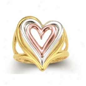 14k Tricolor Triple Open Heart Shaped Ring