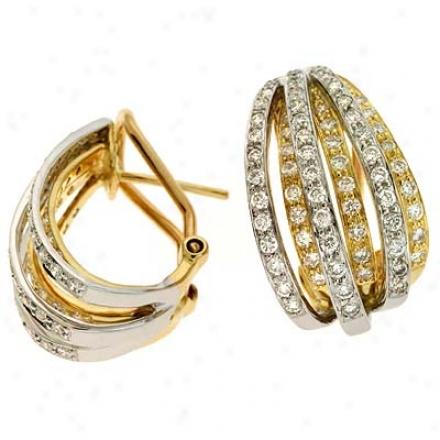 14k Two-tone 1.47 Ct Diamond Earrings