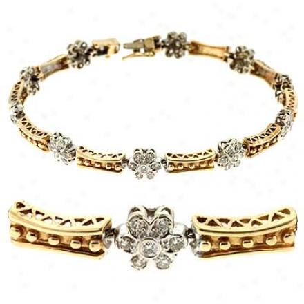 14k Two-tone 1.67 Ct Diamond Bracelet
