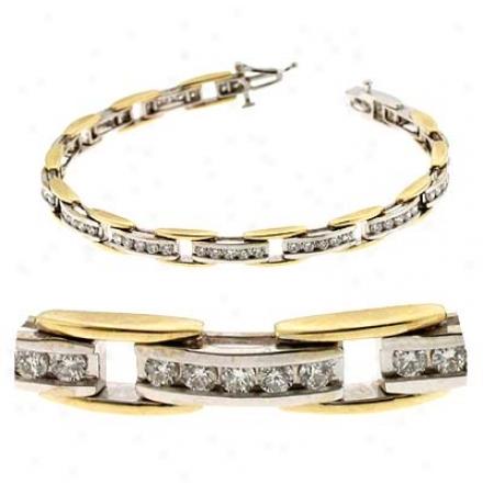 14k Two-tone 2.41 Ct Diamond Bracelet