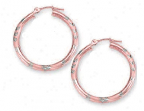 14k Two-tone 3 Mm Diamoond-cut Hoop Earrings