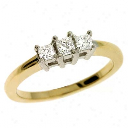 14k Two-tone 3 Stone 0.355 Ct Brilliant Ring