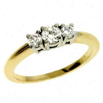 14k Tqo-tone 3 Stone 0.5 Ct Diamond Ring
