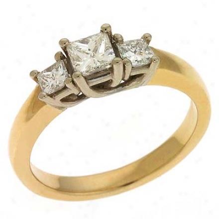 14k Two-tone 3 Stonw 0.75 Ct Diamond Ring
