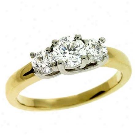 14k Two-tone 3 Stone 1 Ct Diamond Ring