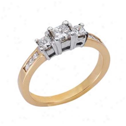 14k Two-tone 3 Stone Designer 0.8 Ct Diamond Ring