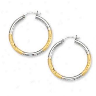 14k Two-tone 3.5 Mm Diamond-cut Hoop Earrings
