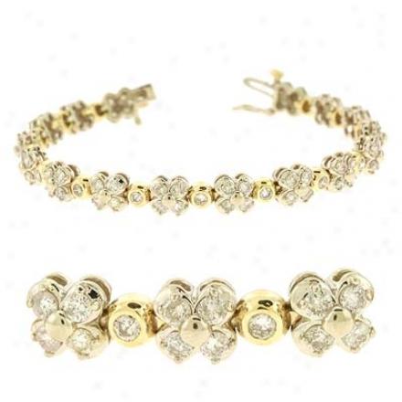 14k Two-tone 4.96 Ct Diamond Bracelet