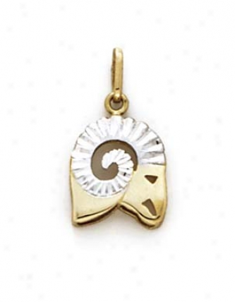14k Two-tone Aries Zoeiac Pendant