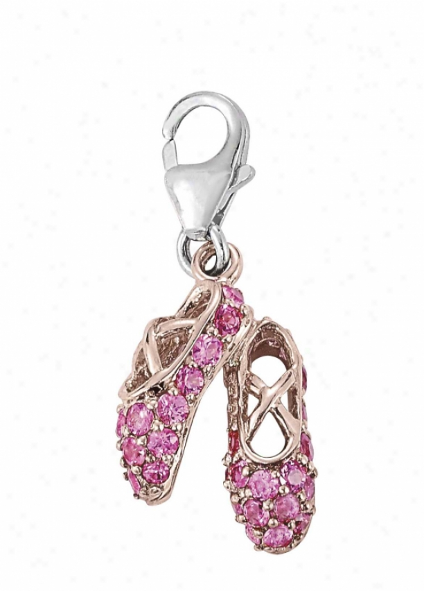 14k Two-tone Ballerina Shoes 1.5 Mm Pink Sapphire Charm