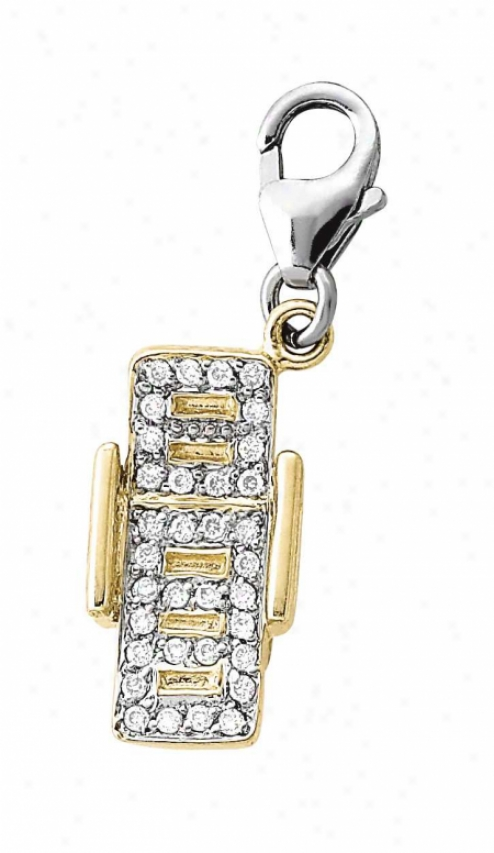 14k Two-tone Beach Chair Round 1.5 Mm Diamond Charm