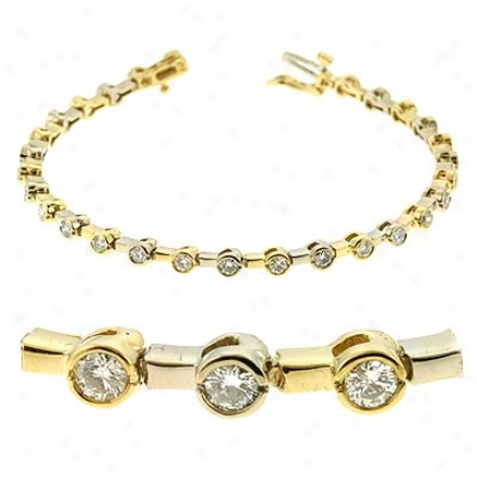 14k Two-tone Bezel-set Tennis 2 Ct Diamond Bracelet