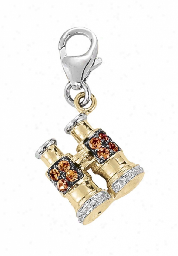 14k Two-tone Binocular Roind 1.5 Mm Orange Sapphire Charm