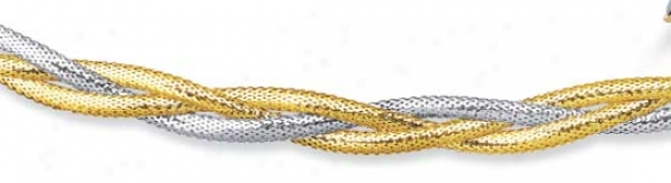 14k Two-tone Braided Mesh Necklace - 18 Inch