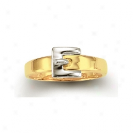 14k Two-tone Buckle Ring