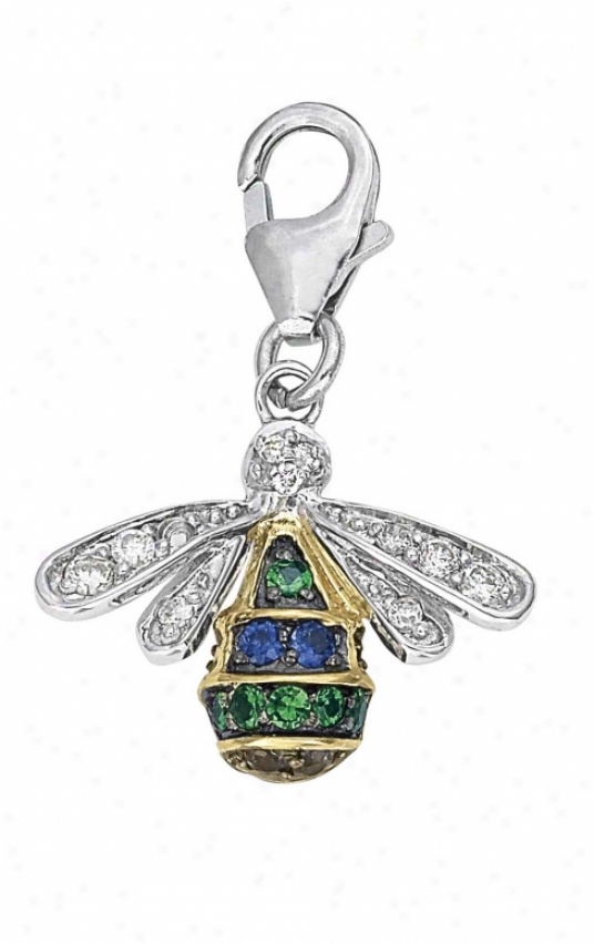 14j Two-tone Bug Ro8nd 1.5 Mm Sapphire And Diamond Charm